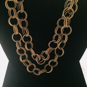 LONG BETSEY JOHNSON DOUBLE RING BOLD TONE NECKLACE